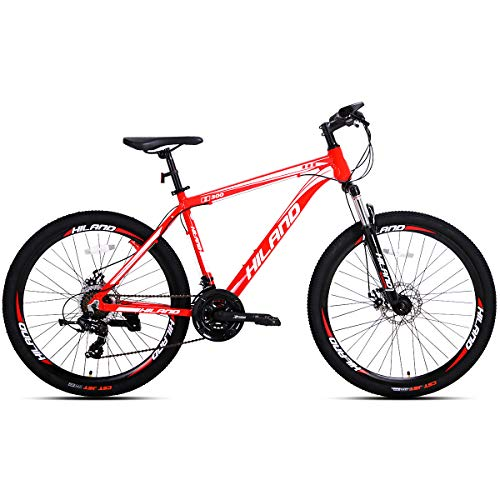Hiland Mountain Bike 26 Inch Aluminum MTB Bicycle for Men with 18 Inch Frame Kickstand Disc Brake Suspension Fork CST Urban Commuter City Bicycle Red