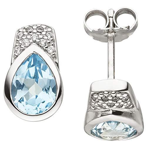 JOBO Damen-Ohrstecker aus 925 Silber mit Blautopas Tropfen Zirkonia