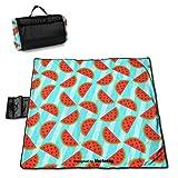 HYZXK Bonito Fondo de Manta de Picnic con diseño de sandía, Manta de Picnic al Aire Libre, Lavable, Plegable, Alfombrillas al Aire Libre Impermeables para Picnic, Camping, Playa, tamaño