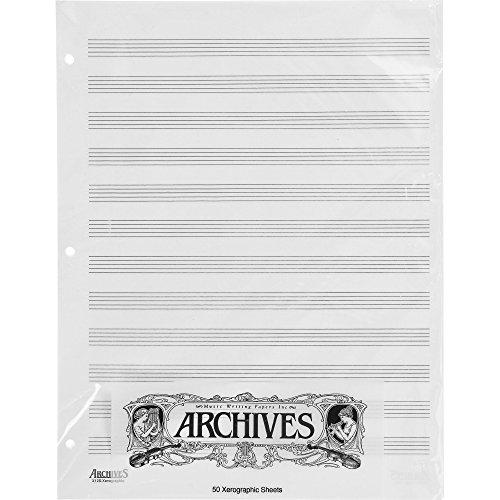 D\'Addario X12S gelochte Notenblaetter, 50 Blatt, 12 Notenbalken