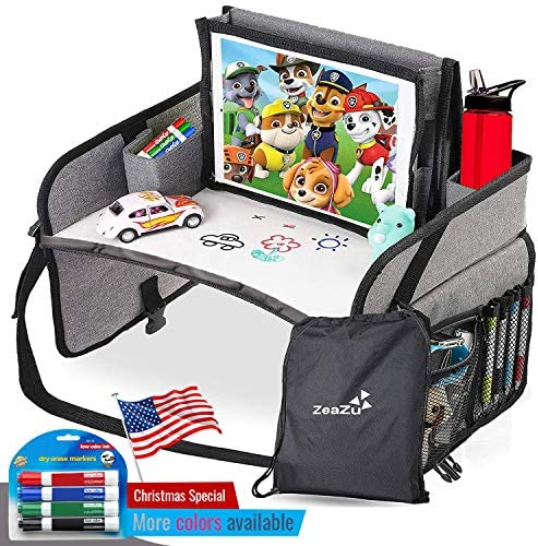 Kids Travel Tray with Bag Foldable Compact Lap Car Seat Table Desk with Dry Erase Board iPad product image