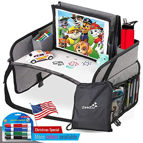 Kids Travel Tray with Bag - Foldable Compact Lap Car Seat Table Desk with Dry...