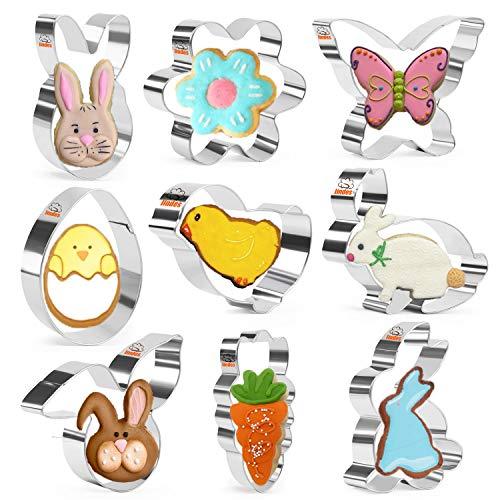 Iindes Ostern Ausstecher Set - 9 Stück Edelstahl Ausstechformen - Ei, Karotte, Hase, Schmetterling, Kaninchen, Blume, Hasengesicht, Küken und Häschenkopf