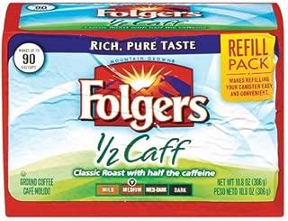 Fresh Taste of Folgers Coffee Refill Pack, 1/2 Caff, 10.8 oz Air Sealed Pack (2 pk)