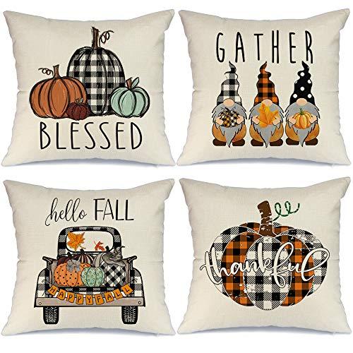 AENEY Fall Pillow Covers 18x18 Set of 4 for Fall Decor Farmhouse Thanksgiving Buffalo Check Plaid Gnomes Pumpkin Outdoor Fall Pillows Decorative Throw Pillows Autumn Cushion Cases for Couch 1015bz18