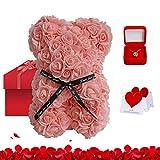 Tenflyer Rose Teddy Bear Box e collana con messaggi, regalo per mamma moglie fidanzata per compleanno e anniversario, un regalo perfetto per San Valentino e festa della mamma