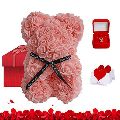 Baishi Set de regalo de oso de rosa y oso de peluche y collar para aniversario, cumpleaños, despedidas de soltera, día de la madre