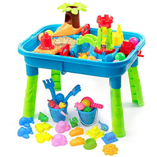 BFUNTOYS Water Table for Toddlers Kids Play Sand amp Water Table 2 in 1 Summer Beach Toys for Outside amp Outdoor Activity Birthday for Boys Girls Children 2021 Deluxe Version 57 Pcs