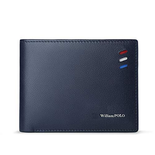 WILLIAMPOLO - Cartera para hombre de piel auténtica, estilo casual, plegable, minimalista, Azul / Patchwork, Medium
