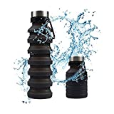 Silicon Bouteille d'eau Pliable Portable, Gourde de Sport sans BPA pour Voyage Randonnée Gym Noir