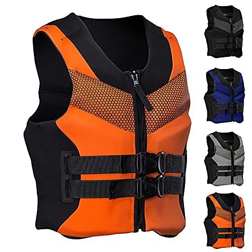 Beylore Chaleco Salvavidas De Neopreno Chaleco De Flotabilidad Sólido para Adultos Chaleco De Seguridad De Ayuda A La Flotabilidad De Kayak Chaleco De Kayak Deportivos Acuáticos,Naranja,XL