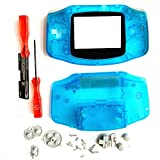 Housing Shell Case Cover Replacement for Nintendo Gameboy Advance for GBA with Conductive Rubber Pad Screwdriver - Clear Blue