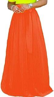 GRMO Las Mujeres de Gasa Plisada de Color Solido de Las Faldas de Cintura Alta Falda Maxi Largo