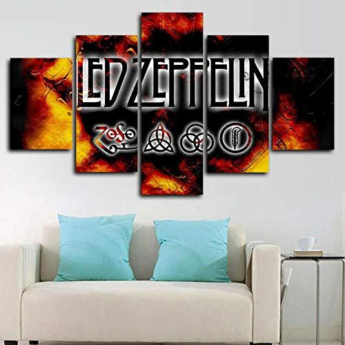 13Tdfc Cuadros Impresos En Lienzo Que Brillan En La Oscuridad 150X80Cm - 5 Piezas -Led Zeppelin Enmarcado- Premium Lienzo De Tejido No Tejido XXL