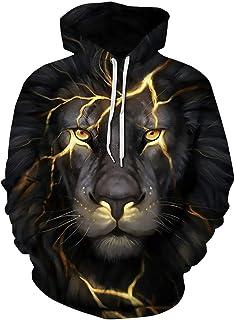 Boy's Hoodies Sweatshirt Unisex Teens Hooded Pullover Winter 3D Lion Design Print