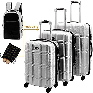 Hardshell Spinner Luggage Sets, 3 Piece Hardside Luggage Sets Lightweight Spinner Suitcase Sets (Silver)