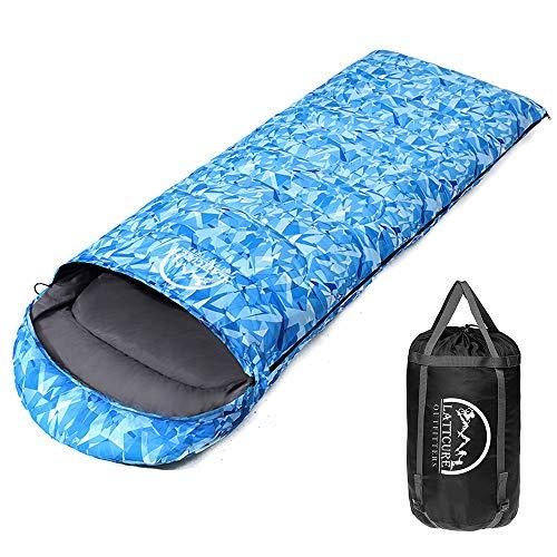 LATTCURE Schlafsack, Mumienschlafsack Weich Dick und Warm Deckenschlafsack Outdoor Camping Kapuze Wandern Kompressionspacksack (Blau)