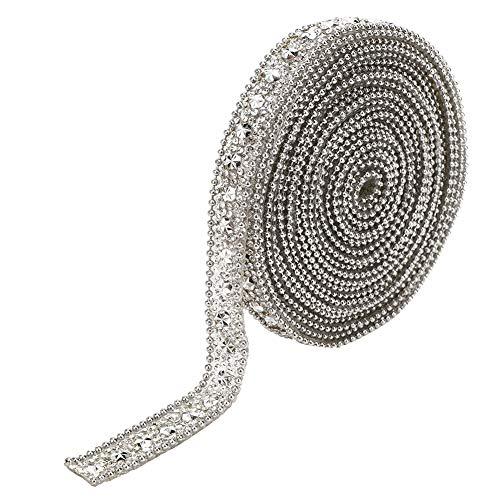 Banda de cinta de diamantes de imitación, atractivos cristales encantadores, adornos hechos a mano, costura para decoración de banquetes de boda, ropa(Silver)