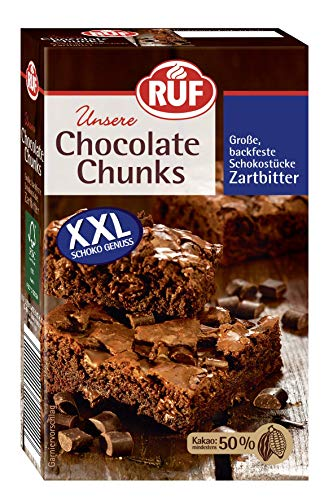 RUF Chocolate Chunks Zartbitter, backfeste, dunkle Schokoladen-Tropfen, XXL Schoko-Drops zum Backen, vegane Schokoladen-Stücke, glutenfrei (1 x 100g)