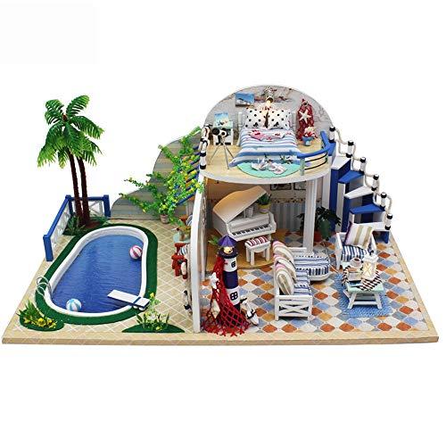LERDBT Puppenstuben Villa mit Pool Modell DIY Miniatur-Raum Holzhandwerk Baukasten-Holz Modellbau Mini House Crafts beständiger gegen Staub (Color : Multi-Colored, Size : 39x30x11cm)