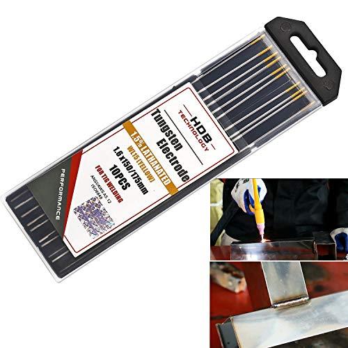 10x Aguja de Electrodos Tungsteno WL-15 Ø1,6 x 175 mm tungsteno TIG Welding Gold WL15 Adecuado para acero inoxidable, titanio, aleación níquel, al carbono etc.