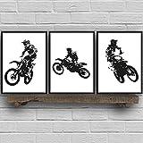 Carteles de motocross impresiones en blanco y negro corredor de motos pintura en lienzo moderna niños cuadros artísticos de pared decoración del hogar 50x60cmx3 sin marco