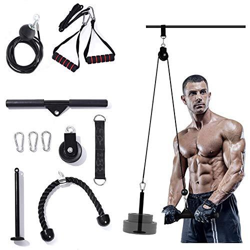 LAT - Accesorio de barra desplegable para máquina de cable, 3 en 1 Fitness LAT y sistema de polea de elevación para gimnasio con pasador de carga, correa para tríceps, barra LAT, equipo de gimnasio