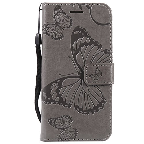 Compatible with Samsung Galaxy S7 Handyhülle mit Ledertasche Kartenfächern PU Flip-Case Hülle Schutzhülle Schmetterling Blumen Muster für Galaxy S7 (Samsuang Galaxy S7, Grau)