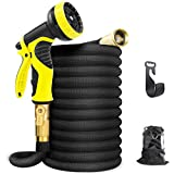"2. Aterod Expandable Garden Hose, 50ft Strongest Flexible Water Hose, 9 Functions Sprayer with Double Latex Core, 3/4"" Solid Brass Fittings, Extra Strength Fabric - Upgraded Lightweight Expanding Hose"