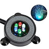 MingDak LED Aquarium Air Bubble Light Fish Tank Air Bubble Stone Disk Round with 6 LED Light for Fish Tank Aquarium