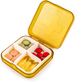 YRLHMYYH Medicine box Two four-frame mounted kit small square plastic storage box PP sealed drugs (Color : Orange)