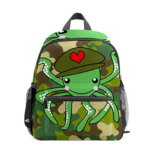 Octopus - Mochila de camuflaje para niñas y niños, tamaño pequeño, mochila de viaje, primaria, preescolar, estudiante, bolsa pequeña