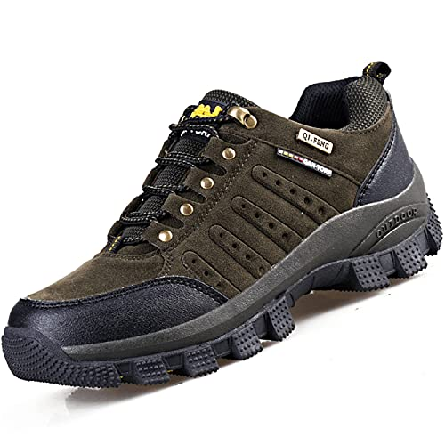 VTASQ Zapatillas de Senderismo para Hombre Antideslizantes AL Aire Libre Zapatillas de Camping Zapatillas de Deporte Respirable Zapatillas de Trekking Unisex Verde Ejército Amarillo 45EU