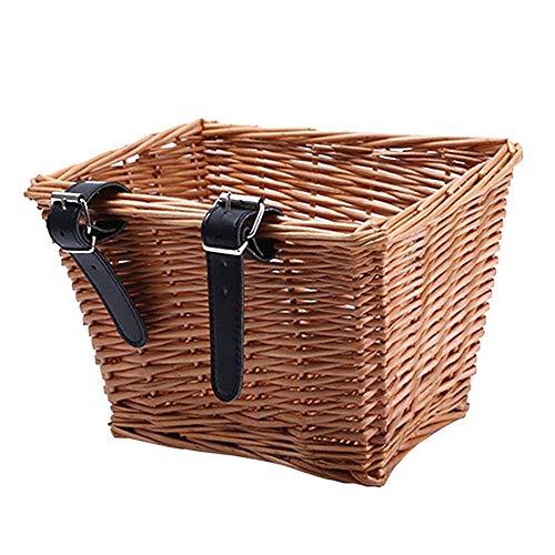 Muxing Holzkorb für Fahrradkorb Fahrradkorb Vorne mit Lederriemen Handgefertigter Traditioneller Fahrrad Einkaufskorb Korbgeflecht Gewebte Fahrradkörbe mit Vielen Größen