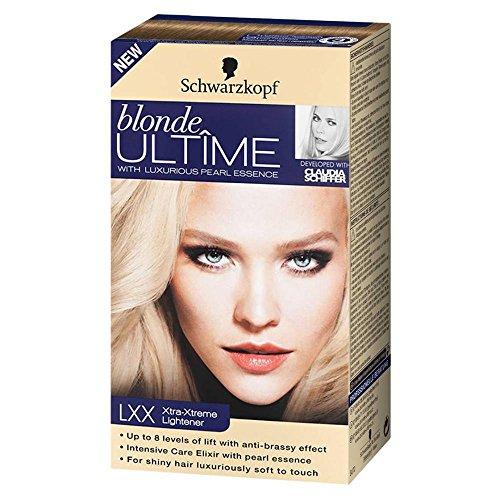 Schwarzkopf blonde Ultîme mit Luxuriöser Perlen-Essenz Extra Intensiv-Aufheller Nr. LXX Extra-Intensiv-Aufheller für eine Aufhellung um bis zu 8 Nuancen mit Anti-Gelbstich-Effekt. Für strahlendes schönes Haar mit intensiv-Pflege-Elixier. Aufheller für die Haare