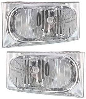 Headlight Assembly Compatible with 2002-2004 Ford Excursion Halogen Aero Type Passenger and Driver Side