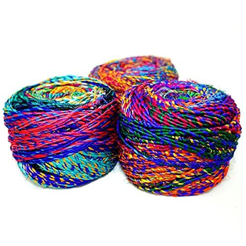 Revolution Fibers Recycled Sari Silk Yarn, Multi-Color Pure Silk Yarn, Made from Handspun Used Sari...