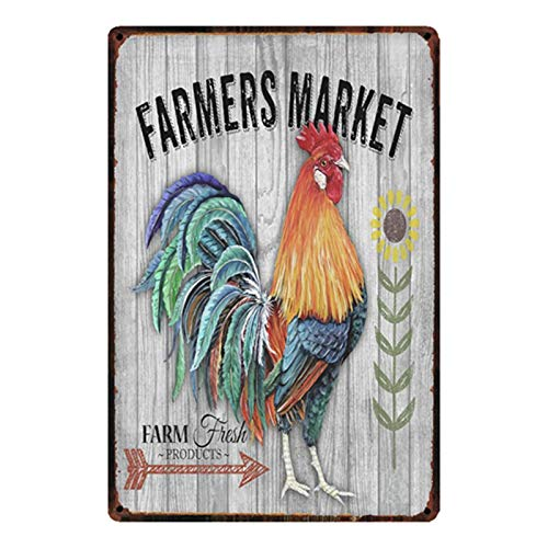 Farmers Market Rooster Vintage Style Metal Sign Iron Painting for Indoor & Outdoor Home Bar Coffee Kitchen Wall Decor 8 X 12 Inch