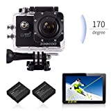 WIFI Action Camera, SOOCOO Sports Video Camera Waterproof 12MP Full HD 1080P 2.0' LCD 170 degree Wide Angle, 30M/98ft Underwater Diving Camera Camcorder with 2 Batteries (SD Card Not Included)-Black