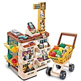 B/A Sanycool Kids Supermarket Set with Cashier ,Shopping Cart and Scanner,Children Grocery Store Playset with Lights and Sounds , Pretend Play Cash Register for Kids Pretend Food Accessories