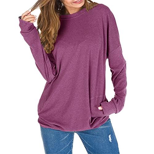 Ropa de mujer Camiseta de otoño para mujer Sudadera Pullover Top de manga larga Sudadera Pullover Top de manga larga Top Casual Sudadera con bolsillo suelto Camiseta ajustada de color puro para mujer
