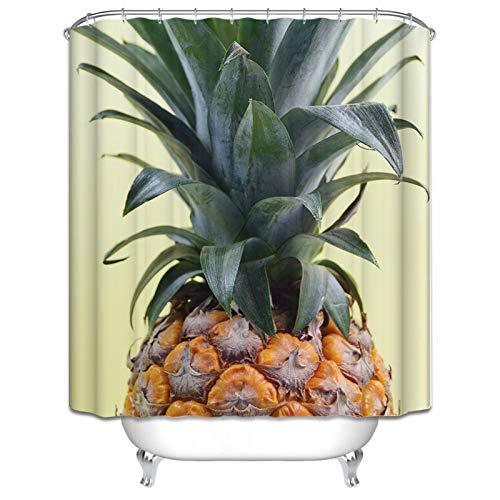 KnSam Duschvorhang 90cm Breit Wasserdicht Schimmelresistent Ananas 120X180cm Duschvorhang