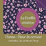La Feuille créative / Thème : Fleur de cerisier /24 feuilles /20,96 cm X 20,96 cm/90 gr: cadeau original pour développer votre potentiel créatif /art ... kirigami/pop'up / bullet /journal de voyage