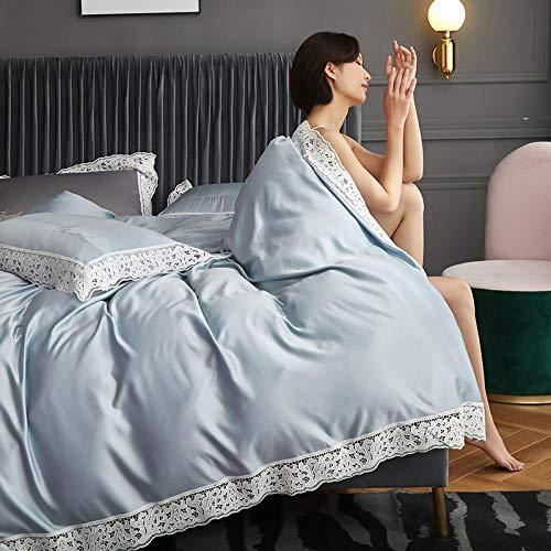 GEEKCOOK Bettbezug,Vierteiliges Set A-Version Gewaschene Seide B-Version Baumwolle Bettwäsche Spitze Handwerk 1,8 m1,5 Meter Doppelbett vierteiliges Set-Tian LAN_1,5 m Bettdecke 200 * 230