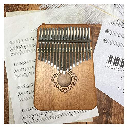 Piano de pulgar, 17-Thumb Piano Piano Mahogany Cuerpo Instrumento Thumb Piano Para niños, adultos y principiantes (Color : Khaki)