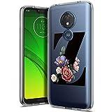 Yoedge Funda para Motorola Moto G9/G9 Play/E7 Plus 6.5',Silicona Ligera Delgado Bumper Rubber Caso Transparente Designs Letra Z Flores Patrón Resistente Carcasa Antichoque Flexible & Ultra Protectora