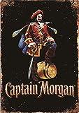 Captain Morgan Métal Mur Affiche Vintage Étain Mural Signe Décorative Rétro Plaque pour Métallique Panneau Bar Cafés Hôtel Jardin Parc