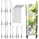 Glass Cups 10 oz, Clear Highball Glass Cocktail Glass Drinking Glasses [Set of 8] + 8 Stainless Steel Straws For...
