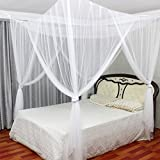 MAGILONA Home 4 Corner Hanging Bed Canopy Cover Mosquito Net Bedding or Outdoors Netting Repellent Fit Twin, Full, Queen, King Bed Protection Bedroom Decorative (White#2)