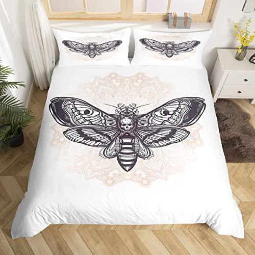 Loussiesd Fantasie-Bettbezug-Set mit Totenkopf-Motiv, Totenkopf-Motiv, florale Illustration, dekoratives 2-teiliges Bettwäsche-Set mit 1 Kissenbezug, Einzelbettgröße, schwarz weiß, mit Reißverschluss